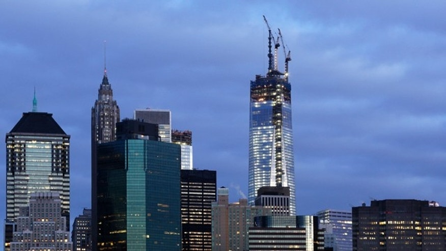 One World Trade Center rises above the lower Manhattan skyline.