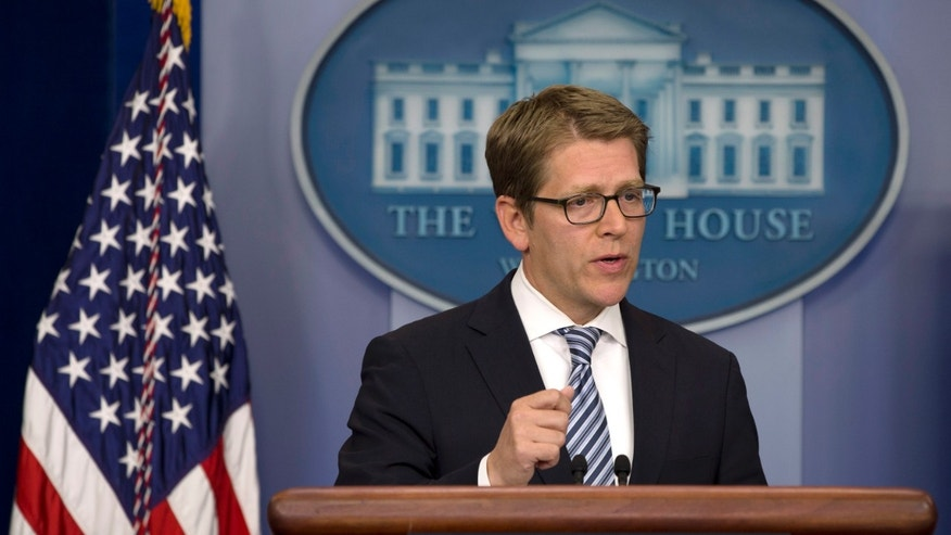 White House Press Secretary Jay Carney speaks during his daily news briefing at the White House in Washington on Monday, May 6, 2013. Carney answered questions on Syria and chemical weapons, as well as Israeli action in Syria. (AP Photo/Jacquelyn Martin)