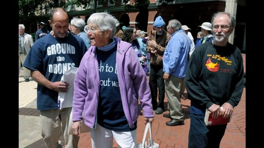 May 6, 2013: Anti-nuclear weapons activists, from left, Michael Walli, 64, Sister Megan Rice, 83, and Greg Boertje-Obed, 56, arrive for their trial in Knoxville, Tenn.