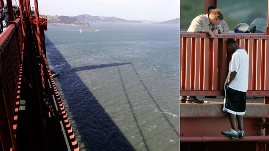March 11, 2005 photo, Kevin Berthia is talked out of jumping off the Golden Gate Bridge by California Highway Patrolman Kevin Briggs in San Francisco.