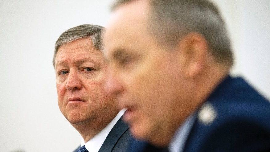 Air Force Secretary MIchael Donley, left, and Air Force Chief of Staff Gen. Mark Welsh III testify before the House Appropriations Subcommittee on Defense budget hearing on the Air Force in the U.S. Captiol in Washington, Thursday, May 9, 2013. (AP Photo/Cliff Owen)