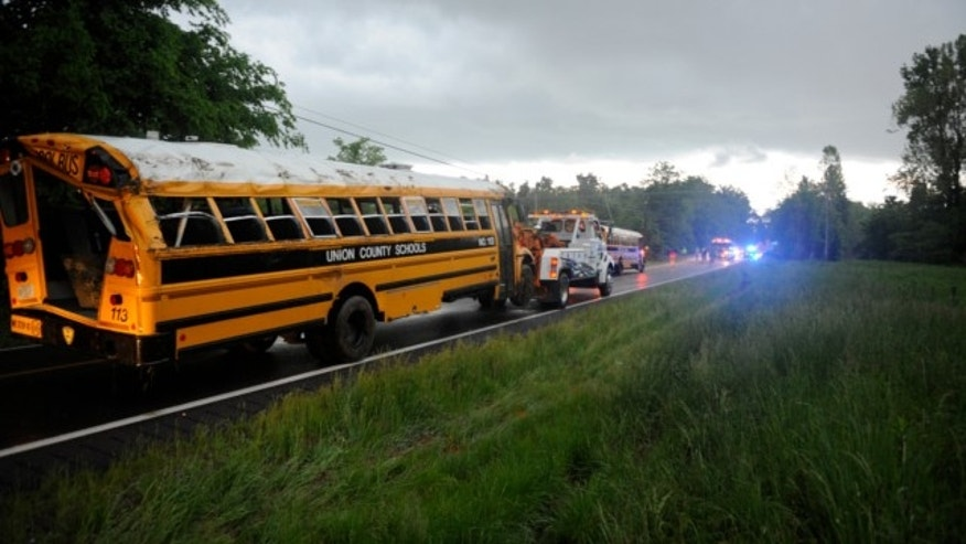 May 10, 2013: A Union County school bus involved in wreck on U.S. 60 at Silver Mine Road near Smithland, Ky., is prepared for towing.
