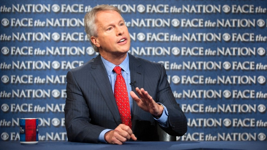 "In this Sunday, May 19, 2013, photo provided by CBS News, Gary Pruitt, the President and CEO of the Associated Press, discusses the leak investigation that led to his reporters' phone records being subpoenaed by the Justice Department on CBS's ""Face the Nation"" in Washington. Pruitt says the Justice Department's seizure of AP journalists' phone records was ""unconstitutional"", and he said that the secret subpoena of reporters' phone records has made sources less willing to talk to AP journalists. (AP Photo/CBS, Chris Usher)"