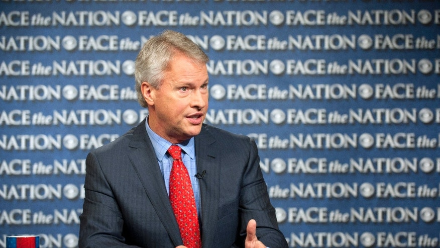 "In this Sunday, May 19, 2013, photo provided by CBS News, Gary Pruitt, the President and CEO of the Associated Press, discusses the leak investigation that led to his reporters' phone records being subpoenaed by the Justice Department on CBS's ""Face the Nation"" in Washington. Pruitt says DoJ's seizure of AP journalists' phone records was ""unconstitutional"", and that the secret subpoena of reporters' phone records has made sources less willing to talk to AP journalists. (AP Photo/CBS, Chris Usher)"