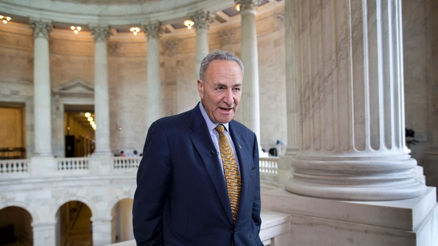 May 6, 2013: Sen. Chuck Schumer, D-N.Y., talks during a television news interview on Capitol Hill in Washington.