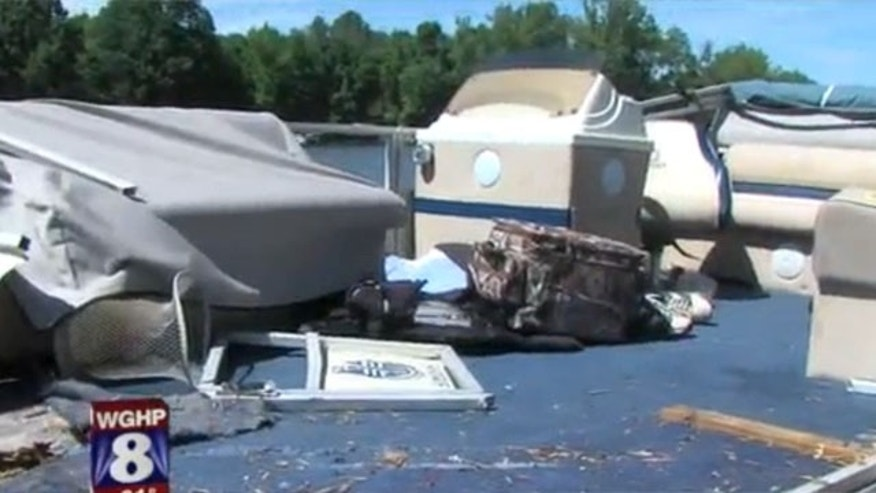 May 25, 2013: A pontoon boat is in shambles after it collided with a speedboat on a North Carolina lake.