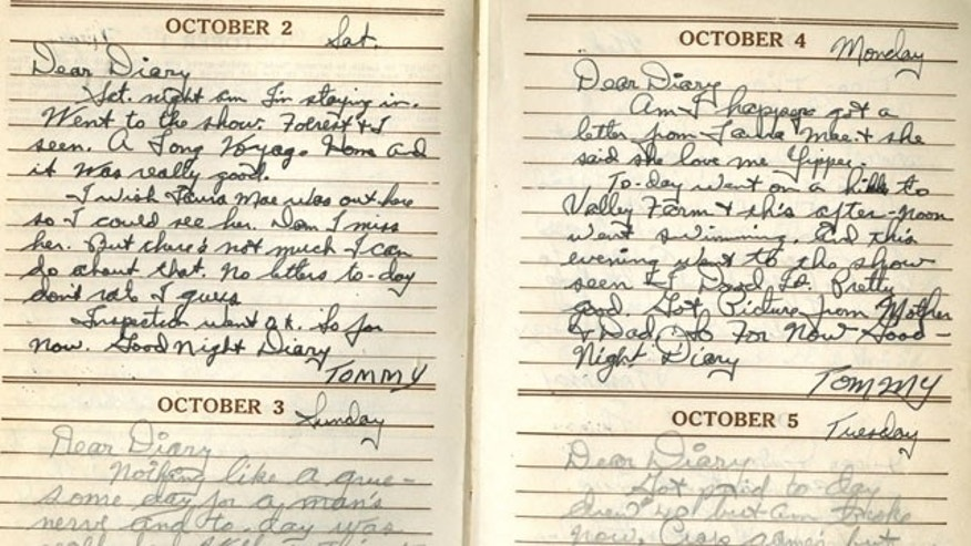 "This photo provided by the National WWII Museum shows pages from the diary by 22-year-old Marine Cpl. Thomas ""Cotton"" Jones, who died in the bloody assault on a Japanese-held island during World War II."