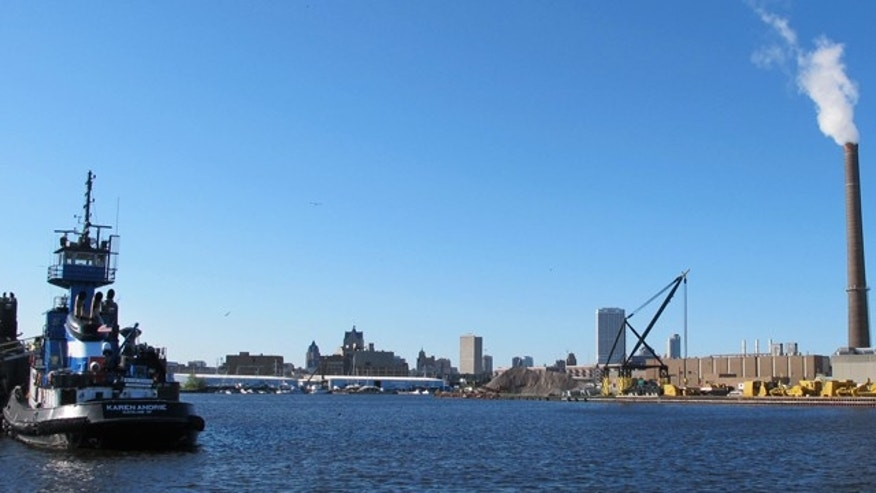 May 23, 2013: A view of downtown Milwaukee from the Kinnickinnic River, not far from where it connects with Lake Michigan.