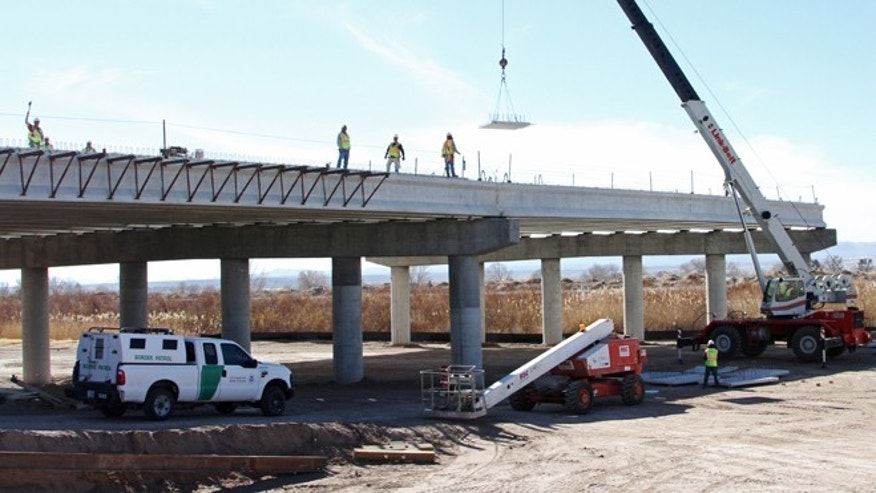 Jan. 18, 2013: A Border Patrol truck is seen the at the Tornillo-Guadalupe border bridge construction in Tornillo, Texas. The bi-national project is nearly finished in the U.S. side, while work has not started on the Mexican side of the river.