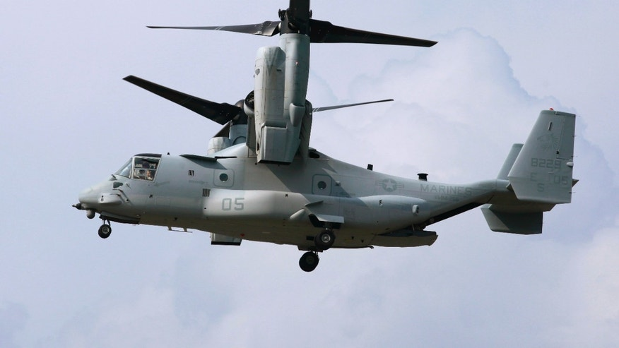 August 3, 2012: An MV-22 (Osprey) aircraft arrives for a test flight with the Japanese delegation at the Pentagon landing field in Washington.
