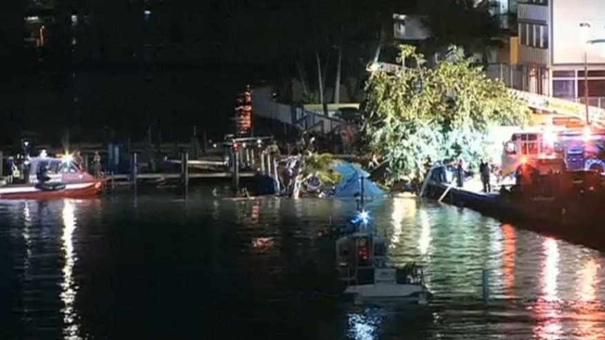 June 13, 2013: An outdoor deck at a Miami-area restaurant and bar collapsed into Biscayne Bay Thursday night, injuring dozens.