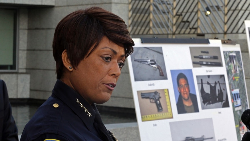 June 13, 2013: Police Chief Jacqueline Seabrooks of the Santa Monica, Calif., Police Department speaks at a news conference at which additional evidence photos of the June 9 shooting rampage by John Zawahri  were released.