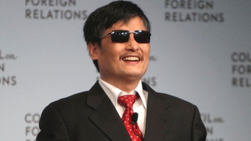 In this May 31, 2012 file photo,  Chen Guangcheng speaks at the Council on Foreign Relations in New York. Chen, a Chinese dissident who was allowed to travel to the U.S. after escaping from house arrest said in a statement Monday, June 17, 2013, that New York University is forcing him and his family to leave at the end of this month because of pressure from the Chinese government.