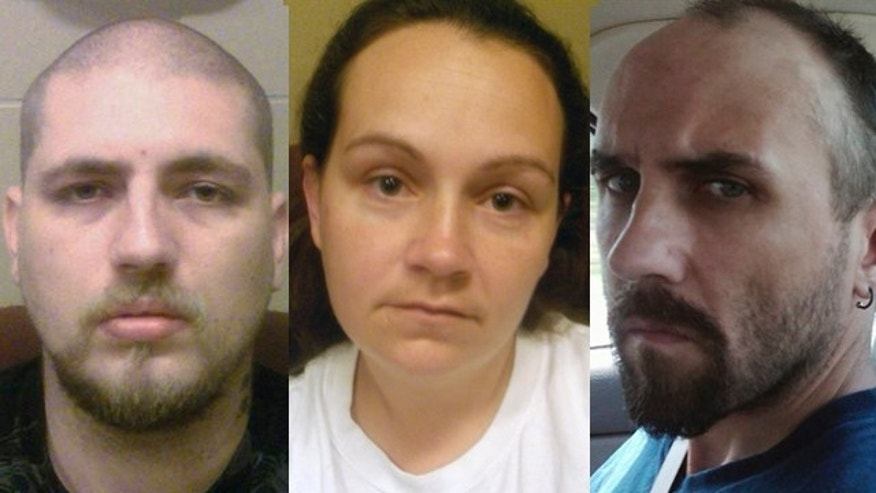 FILE: This image provided by the Department of Justice shows undated photos of Jordie L. Callahan, left, Jessica L. Hunt and Daniel Brown.