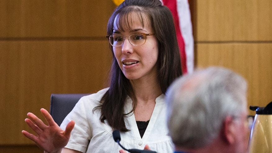 March 6, 2013: Jodi Arias answers written questions from the jury during her murder trial in Maricopa County Superior Court in Phoenix. Arias is on trial for the 2008 murder of Travis Alexander.