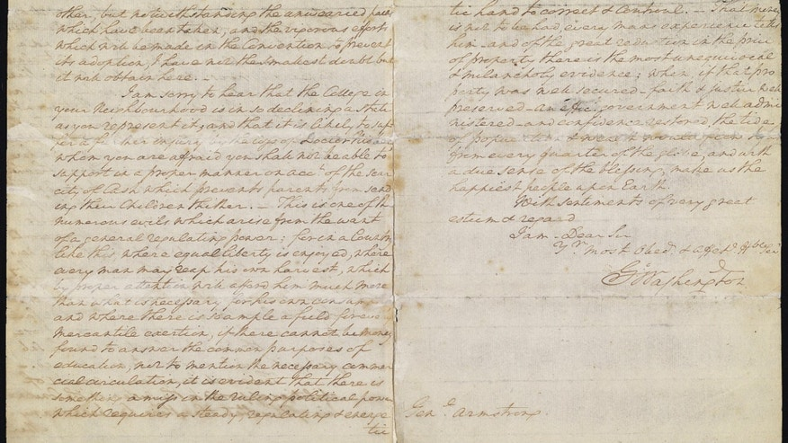 "WASHINGTON, George. Autograph letter signed (""G:o Washington""), to John Armstrong (1717-1795), Mount Vernon, 25 April 1788. 4o, 7 pages on two bifolia (9 x 7 3/8 in.). Professionally conserved: two horizontal folds neatly reinforced, slightly obscuring some text, light dampstains to page [4], left-hand margins of pages [1] and [4] with narrow strip from old mount. Estimate: $1,000,000 – $2,000,000 (CHRISTIE'S IMAGES LTD. 2013)"