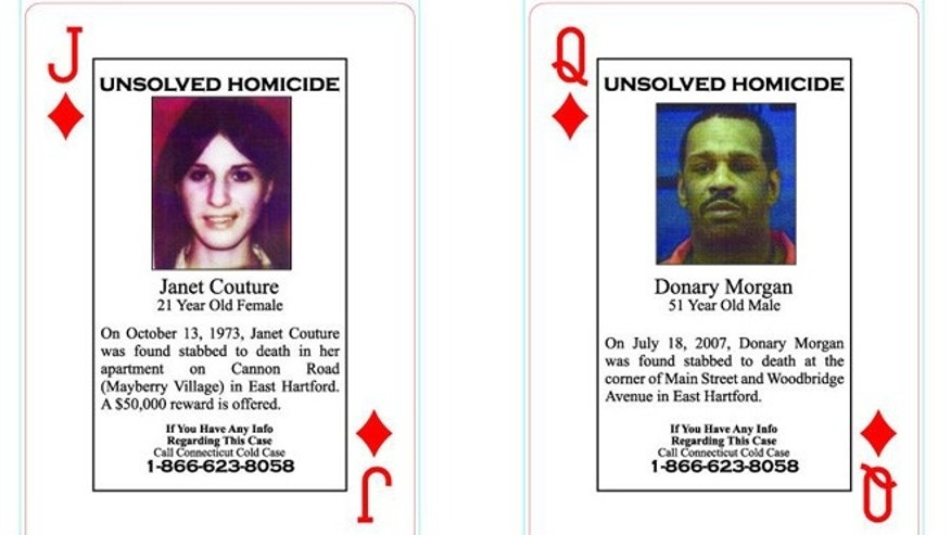 Connecticut law enforcement officials are selling decks of playing cards that highlight unsolved crimes throughout the state, like the stabbing death of Janet Couture, shown left. They hope the cards will lead them to new clues.