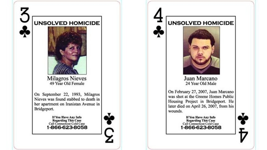Two playing cards from the set, which is based on cold cases.