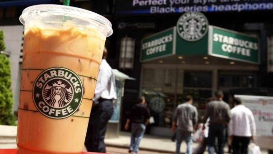 April 21, 2010: A Starbucks drink is seen on a table in New York's Times Square.