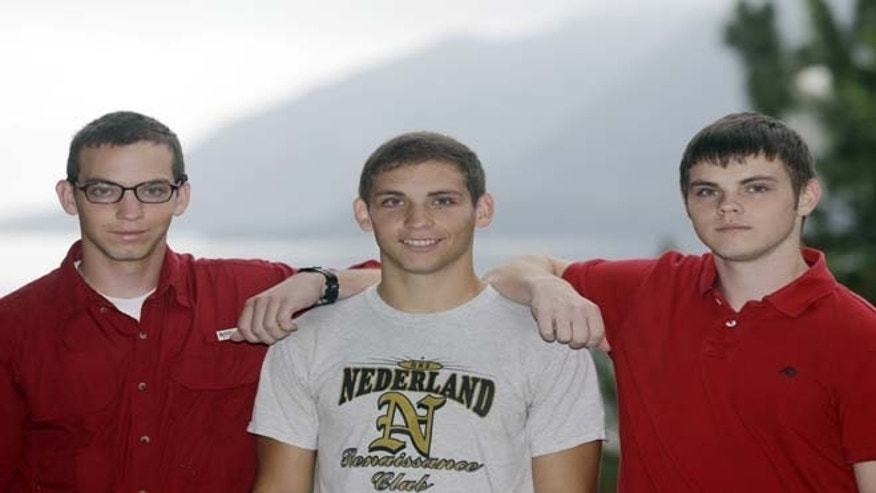 July 1, 2013: From left, brothers Noah Ogrydzniak, 19, and twins Sumner and Cole, 17, of Nederland, Texas, pose during Reception Day at the U.S. Military Academy at West Point, N.Y. For one of the few times in its long history, the U.S. Military Academy has accepted three siblings into the same class.