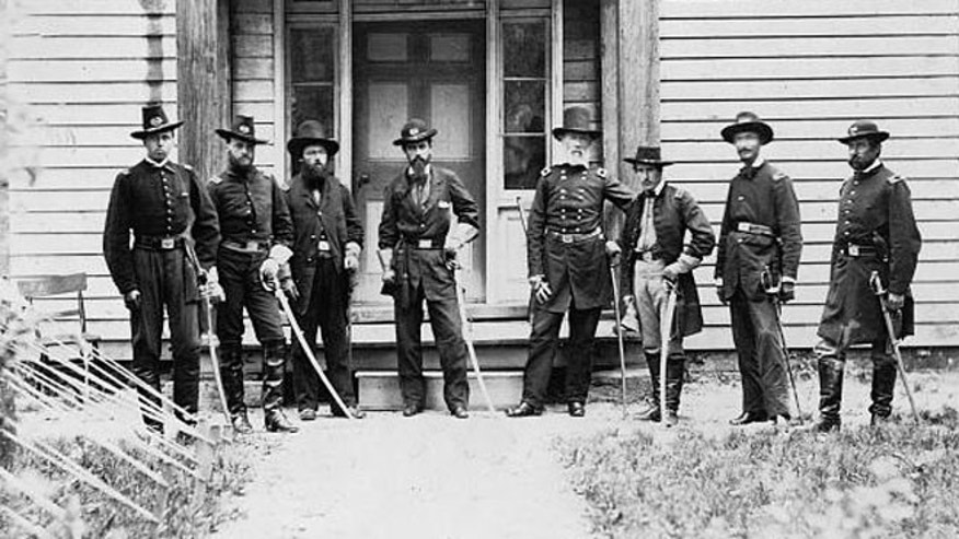 Lt. Alonzo Cushing (far left), shown with other Union officers