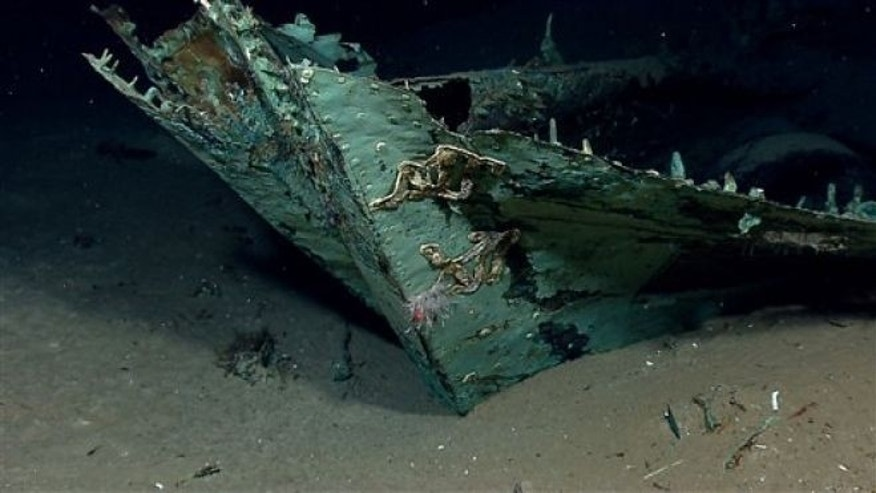 April 26, 2012. In this photo provided by NOAA Okeanos Explorer Program, a well preserved shipwreck is seen about 200 miles off the coast of La., at a depth around 4,000 feet, in the Gulf of Mexico.