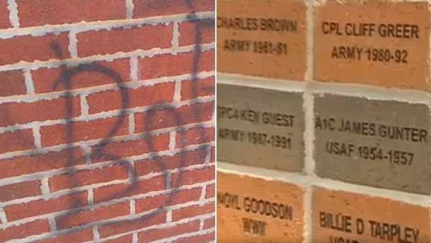This undated photos show the damage done by vandals, left, at a Georgia park honoring veterans, right.