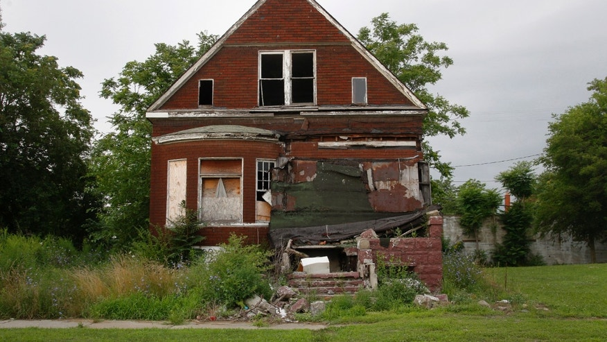 July 23, 2013 - A vacant blighted home is seen on a street that was once lined with houses in Detroit, Michigan.