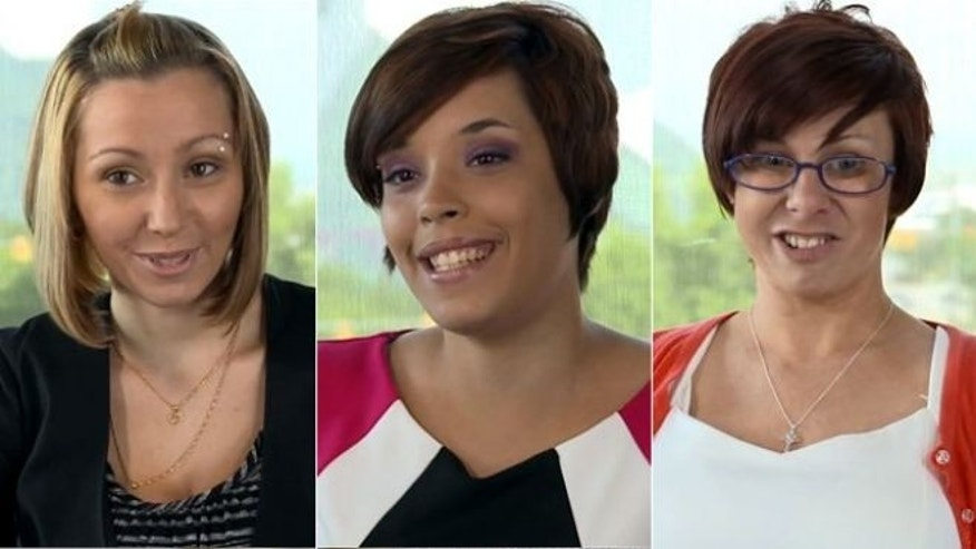 Images from a video released in July featuring the Cleveland women held for a decade provided by Hennes Paynter Communications shows from left: Amanda Berry, Gina DeJesus and Michelle Knight.