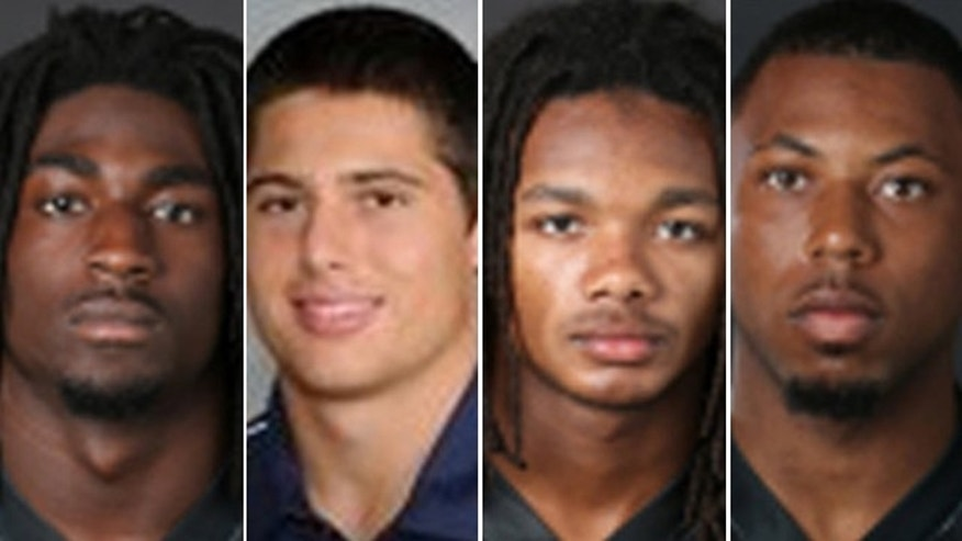 "Images provided by Vanderbilt University show from left: Cory Batey, 19, of Nashville, Tenn.; Brandon Vandenburg, 20, of Indio, Calif.; Brandon Banks, 19, of Brandywine, Md.; and Jaborian ""Tip"" McKenzie, 19, of Woodville, Miss."