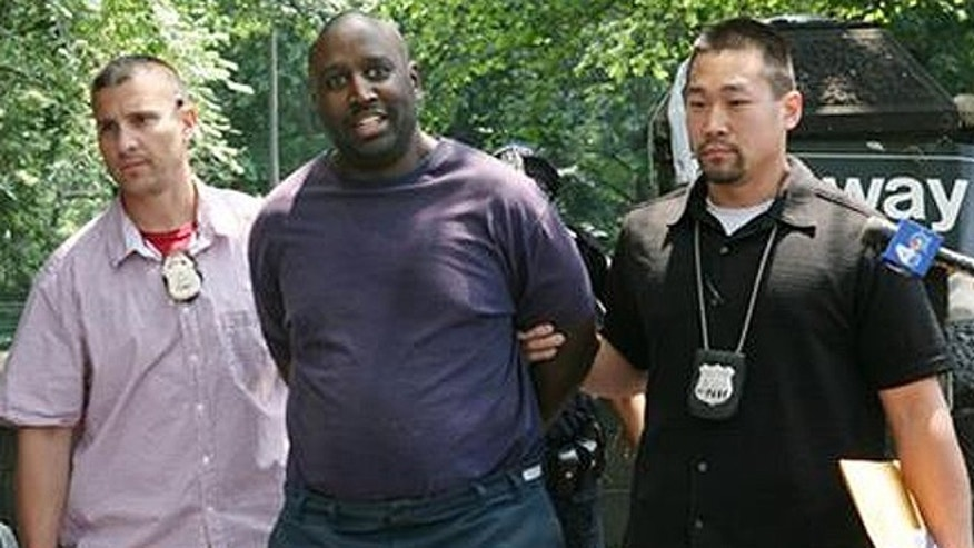 June 14, 2008: New York City Police Department plain clothes officers escort Darius McCollum, center, after his arrest for sneaking into a subway station wearing clothing that resembled a transit worker's uniform. Since he was a teenager, he's been arrested for crimes that include piloting a subway train, stealing a bus and donning uniforms to pose as a conductor and even track worker. His most recent arrest was in 2010, where he was caught behind the wheel of Trailways passenger bus on the highway that leads to Kennedy International Airport. He's been jailed, pleaded guilty to criminal possession of stolen property and will be sentenced Aug. 15, 2013. (AP)