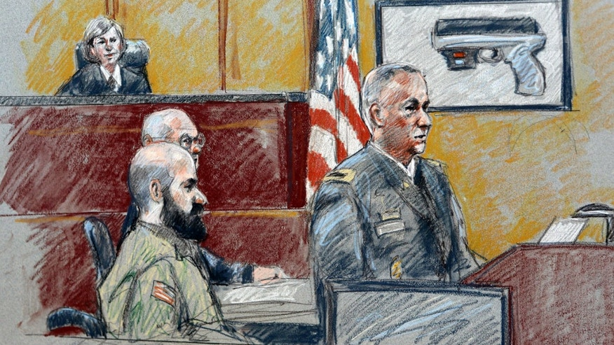 Aug. 6, 2013:  In this file courtroom sketch, military prosecutor Col. Steve Henricks, right, speaks as Nidal Malik Hasan, center, and presiding judge Col. Tara Osborn look on during Hasan's court-martial  in Forth Hood, Texas.