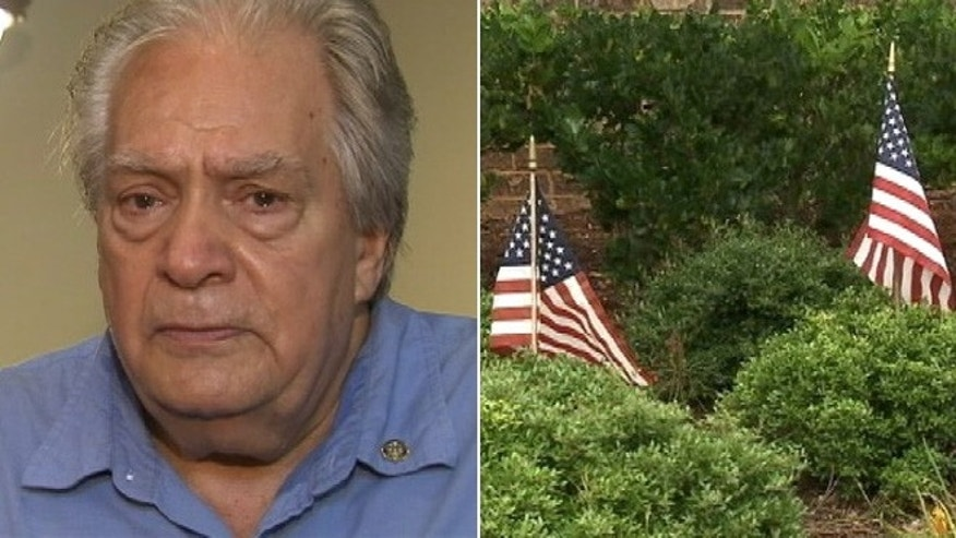 "Korean War veteran Armond ""Sonny"" Noah says management removed his American flags without warning."