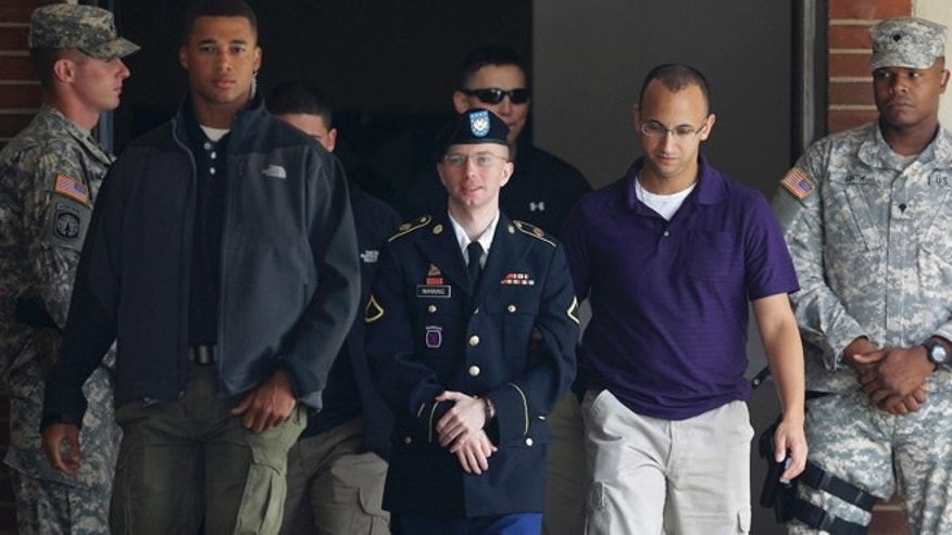 Aug. 16, 2013: Army Pfc. Bradley Manning, center, is escorted to a security vehicle outside a courthouse in Fort Meade, Md., after a hearing in his court martial.