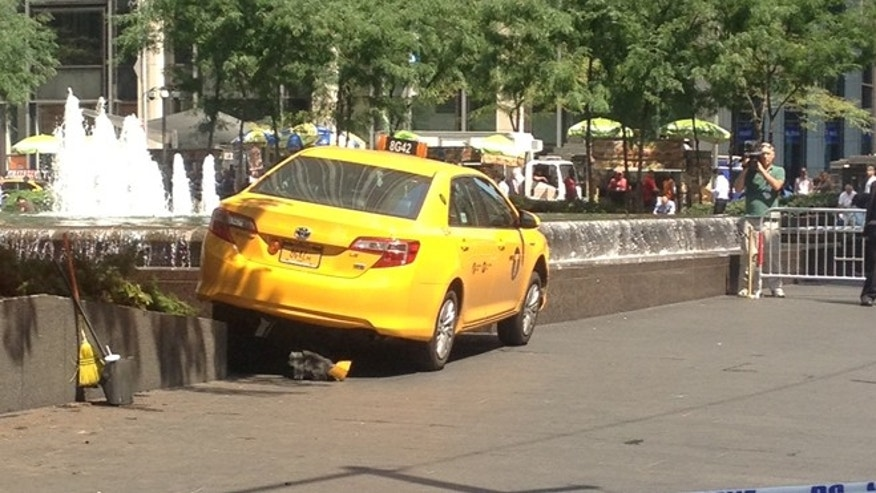 Aug. 20, 2013: A taxi in New York City after it jumped a curb and struck multiple people, witnesses say.