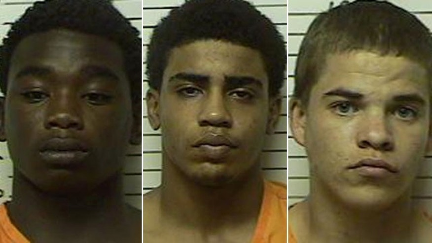 These photos released by the Stephens County Sheriffs Office show, left to right, James Edwards Jr., Chancey Luna and Michael Jones.
