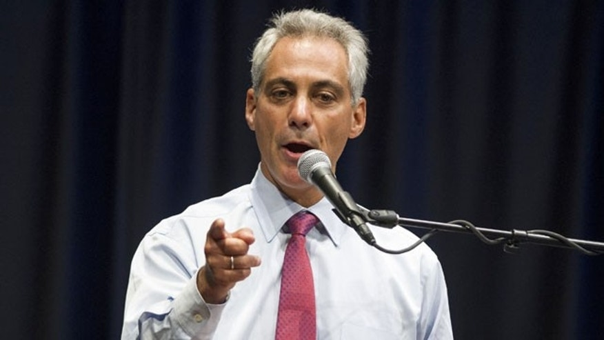 August 21, 2013: Chicago Mayor Rahm Emanuel speaks to members of the Safe Passage program during a training session at Chicago State University. (AP Photo/Scott Eisen)