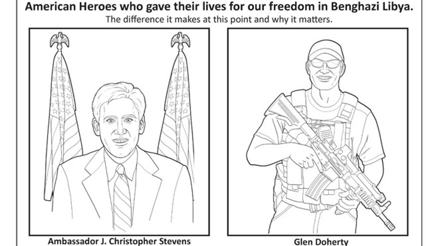 "The first part of an image about the Benghazi attack in the ""LEARN about terrorism"" coloring book."