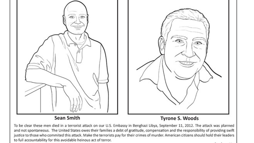 "The second part of an image about the Benghazi attack in the ""LEARN about terrorism"" coloring book."