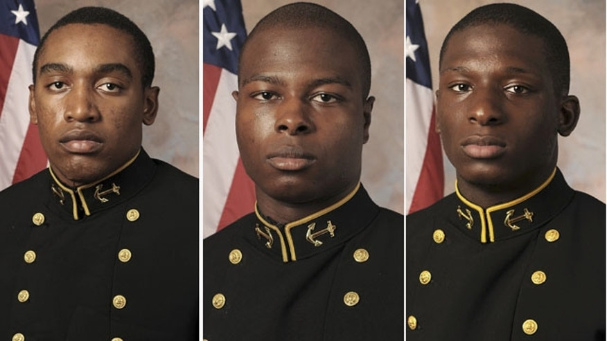 (L-R): Naval Academy Midshipmen Tra'ves Bush, Eric Graham, and Josh Tate. A hearing has begun to determine whether Bush and two other former U.S. Naval Academy football players will face a court-martial on charges that they sexually assaulted a female midshipman. (AP Photo/U.S. Navy Football)
