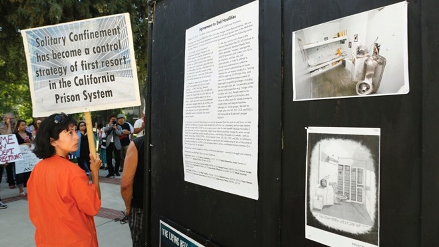 Aug. 14, 2013: In this file photo, Diya Malika, of the Stop Mass Incarceration Network, glances at information about the Secure Housing Units in California prisons, during a rally calling for the end of solitary confinement in California prisons, at the Capitol in Sacramento, Calif.