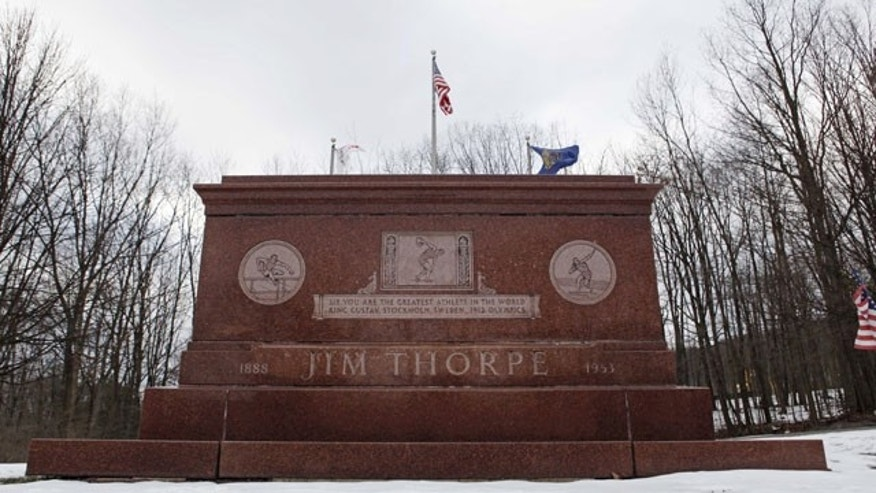 The tomb of Jim Thorpe is shown in Jim Thorpe, Pa. (AP Photo)