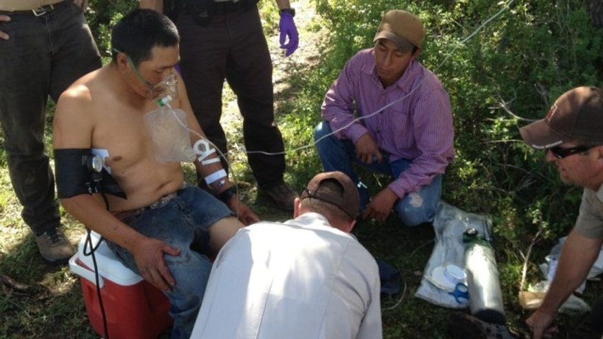 Sept. 3, 2013: This image provided by the Utah Division of Wildlife Resources shows Peruvian sheepherder Hugo Macha, 31, being assisted by officers with the Utah Division of Wildlife Resources in the mountains in eastern Utah, near Moab, after being gored by an elk.