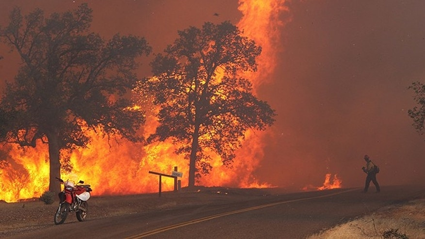 Sept. 9, 2013: A firefighter works the Clover Fire in Anderson, Calif., on Gas Point Road. The fire destroyed at least 20 buildings and burned more than 6,700 acres by Monday night. (AP/The Record Searchlight, Andreas Fuhrmann)