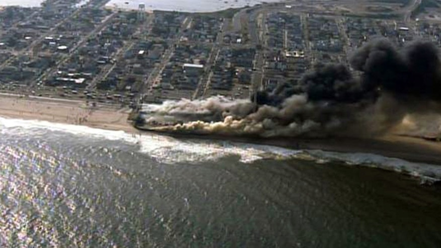 Sept. 12, 2013: This frame grab from video provided by Fox 29 shows a raging fire in Seaside Park, N.J.