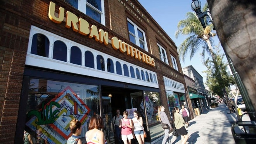 Aug. 19, 2013: Shoppers are pictured outside a Urban Outfitters store in Pasadena, California.