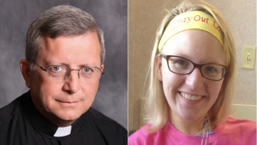 "The Rev. Patrick Dowling, (l.), came forward after reports of a ""mystery priest"" appearing at a crash site to pray with victim Katie Lentz, (r.). (Courtesy: Jefferson City Diocese, Lentz family)"