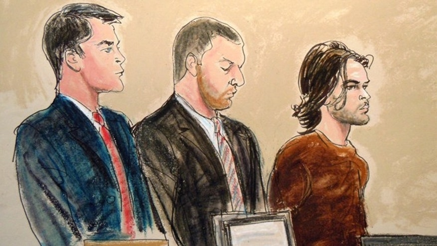 In this courtroom artist's rendering, Abdel Hameed Shehadeh, right, appears in Brooklyn federal court, Tuesday, Nov. 2, 2010, in New York, on charges that he made false statements to U.S. authorities who were investigating international terrorism.