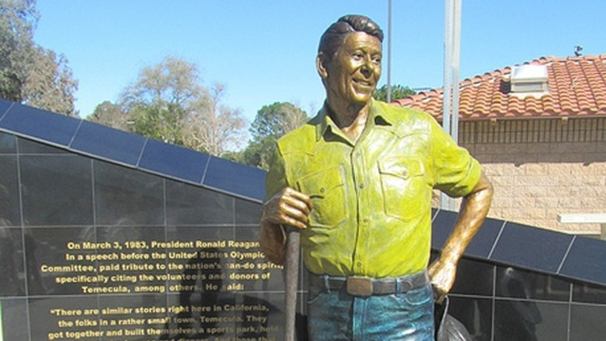 This image shows the 1-year-old statue of Ronald Reagan before it was torched last week in an apparent arson fire at the Ronald Reagan Sports Park in Temecula, Calif.