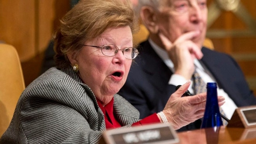 Dec. 5, 2012: In this file photo, Senate Appropriations Committee member Sen. Barbara Mikulski, D-Md., left, speaks on Capitol Hill in Washington.